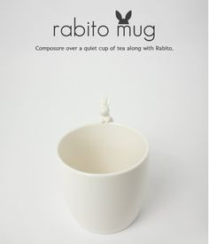 Rabito Mug: the little rabbit on top of this mug sits to hold your tea bag or to simply look cute!