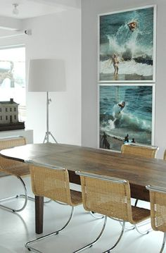 coastal photography    interior design inspiration   dining room ideas   neutral colors   contemporary home   wall art   gallery wall   affordable art online