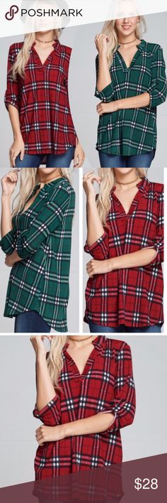 "PLAID, HIGH-LOW TOPS! Forest Green or Burgundy, high low shirt tail shirts are in and they are precious! With v-necks, collars and the length to wear with leggings, you'll love them! 92% polyester.                            ♦️S: bust 38""♦️M: bust 40""♦️L: bust 42"" tla2 Tops Blouses"