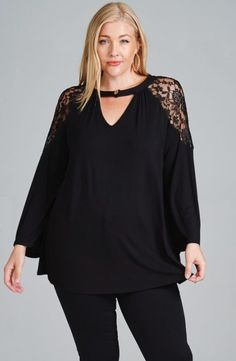 9faf44c3ad3 Plus size solid jersey ruched keyhole neckline tunic top with lace shoulder  detail and bell sleeves