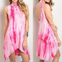 """MADE IN USA Tiedye Open Back Dress Made in USA. BRAND NEW Color available: Pink Size available: S M L Material:  Note: Due to the difference between different monitors, the actual color of the item may be slightly different. Item's measured by hand, could be 1"""" different. Price firm.  NO TRADE M's Boutique Dresses Mini"""