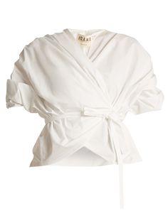 Gathered cotton wraparound top | A.W.A.K.E. | MATCHESFASHION.COM