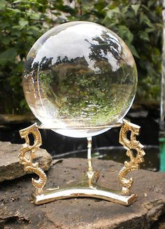 """4 1/2"""" Clear Crystal Ball with Gold Dragon Stand Wicca Witchcraft Scrying"""