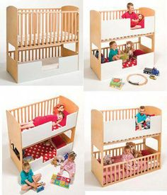 Convertible Crib Toddler Bed WoodWorking Projects Plans Best Bunk Beds For Adults Baby Bunk Beds, Bunk Beds Small Room, Toddler Bunk Beds, Modern Bunk Beds, Cool Bunk Beds, Kid Beds, Baby Cribs, Small Rooms, Bunk Bed Crib