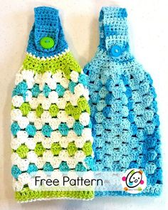 """My favorite dish cloths are the ones that button around a handle. I wanted to design a simple crocheted one. My mom has a double oven and I wanted a hanging towel that was a little shorter and squatty (love that word """"squatty"""") so it wouldn't hang over the bottom oven. This towel is easy  {Read More...}"""