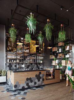 Bakery Shop Interior, Coffee Shop Interior Design, Coffee Shop Design, Cafe Design, Shop Interiors, Office Interiors, Industrial Coffee Shop, Juice Bar Design, Deco Restaurant