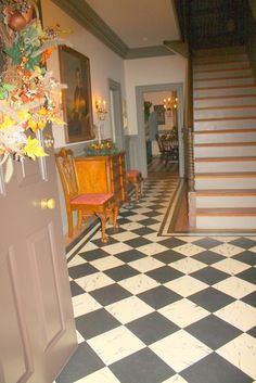 Custom Made Marbleized Floorcloth