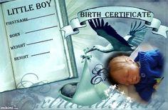 birth certificate (boy) Birth And Death, Birth Certificate, Reborn Dolls, Little Boys, I Movie, Marriage, Nursery, Personal Care, Template