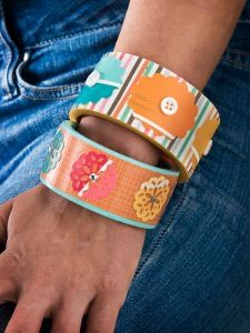 Jewelry makers can find inspiration anywhere-even the hardware store! These Paint Chip Bangles turn a home improvement store staple into a fabulous accessory. Visit the paint section and pick out your favorite palette.