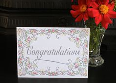 Floral Border Congratulations Card by KitchCards on Etsy