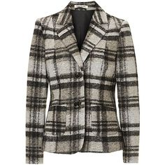 Betty Barclay Tailored Check Blazer, Black/Beige ($98) ❤ liked on Polyvore featuring outerwear, jackets, blazers, vintage jackets, beige blazer, tailored blazer, checkered blazer and long sleeve jacket