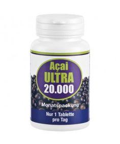Acai Ultra 20.000 -Hochdosiert mit 1000 mg Acai-Extrakt pro 1 Tablette, was einer Menge von 20.000 mg Acai Pulver (als 20:1 Extrakt) entspricht. Nur eine Tablette täglich!