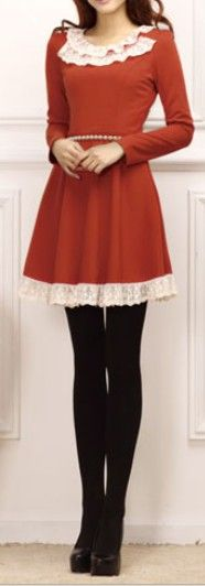 Fire red dress with lace hem, so cute