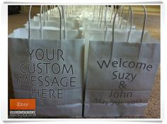 CUSTOM ORDER Wedding Welcome Bags Designed by wright4design on ETSY.COM http://www.etsy.com/shop/wright4design $325.00 or $3.25 per bag