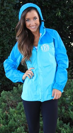 Monogrammed Colorblock Rain Jacket at Marleylilly.com!