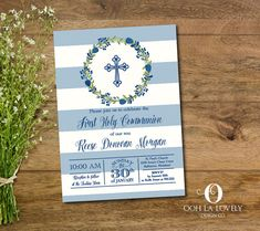 First Communion Invitation Baptism Invite printable DIY Boy Masculine blue Confirmation Baby Dedication Invitation, Baptism Invitation For Boys, First Communion Invitations, Christening Invitations, Simple First Birthday, Boys First Communion, Baby Boy Baptism, Ideas Para Fiestas, First Birthdays