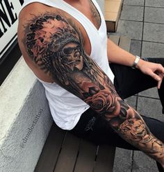 25 Coolest Sleeve Tattoos for Men – tattoo sleeve men Indian Skull Tattoos, Skull Sleeve Tattoos, Temporary Tattoo Sleeves, Half Sleeve Tattoos Designs, Best Sleeve Tattoos, Sleeve Tattoos For Women, Tattoos For Guys, Tattoos 3d, Badass Tattoos
