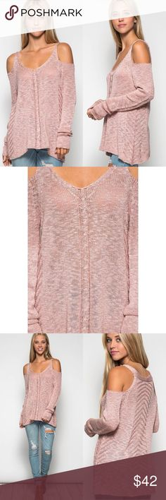 Cold Shoulder Knit Sweater Cold shoulder knot sweater in a dusty rose color. Model in first set of photos is 5'9 wearing size small. 65% cotton, 35% acrylic. Price is firm unless bundled. No trades or pp. Sweaters