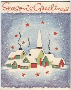 Vintage White & Wyckoff Christmas Card - Village in Snow
