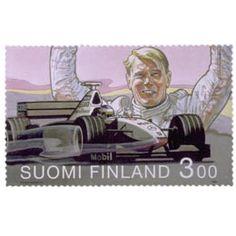 Postimerkki: Formula 1 -maailmanmestari Mika Häkkinen | Suomen postimerkit Formula 1, Finland