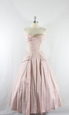Vintage Strapless Dress - 1950s White with Red Polka Dots Cotton Full Skirt with Huge Bow in Back.