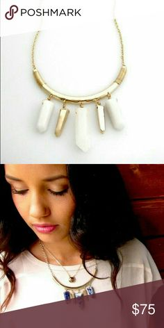 "Semi-Precious White Jade Statement Necklace A Skinny by Jessica Elliot Piece, Los Angeles. Handcrafted in the U.S. Hexagonal, Gold-Plated, Semi-precious White Jade. It is said to help protect the wearer against negative influences or energies, recognized for its healing & stabilizing energies. Chain approx. 14"" long, plus 3"" extension. Lobster clasp closure. The piece to which the stones are attached is approx. 4"" long, handcrafted wire detail. Shipped in pictured box. The color choice the…"