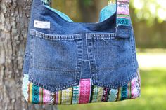 Denim Upcycled / Recycled Purse with Hidden Pocket by bellezastuff