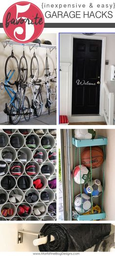 Trying to keep the garage clean and organized feels like a daunting task! After a deep clean, try a few of these 5 DIY Inexpensive & Easy Garage Hacks.