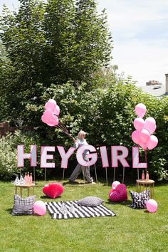 DIY Printable Stencils For A HEY GIRL Yard Sign Picnic Party Decorations Outdoor