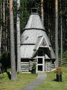 modern kota/ Goahti, - Sami tipi or cabin near the Baltic Sea, Finland