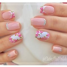Image may contain: one or more people and closeup Gel Uv Nails, Rose Nails, Best Acrylic Nails, Flower Nails, Square Nail Designs, Elegant Nail Designs, Beautiful Nail Designs, Nail Art Designs, May Nails