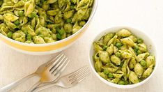 This easy pasta dinner is great for little kids and adults alike! The bright green color comes from peas and purchased pesto.
