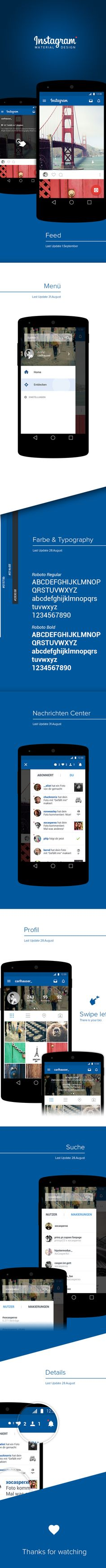 Another take at #MaterialDesign, this time by Carl Hauser. This Instagram #redesign looks pretty neat!