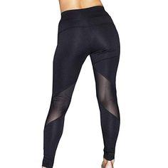 29b424672d Amazon.com: Runner Island Womens Black Workout Leggings with High Waist Tummy  Control Elastic Waist Pockets Mesh for Running: Clothing