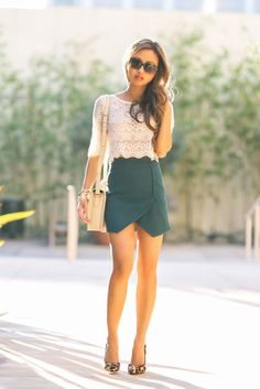 Cream lace top, teal skirt, nude/gold accessories
