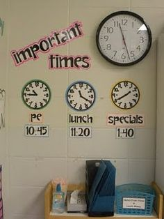 Important times - I will always do this! I never have kids asking me when specials, lunch, eld or recess are. They know where to look and after awhile, they just memorized the time! After Spring Break, I took away the digital time to help them practice reading analog clocks.