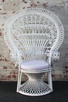 peacock chair, like white and wicker
