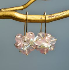 Rose Quartz and Japanese Keshi Pearl Earrings by Oonuki on Etsy