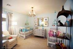 Layout of twins baby room- love the initial at the end of each bed.