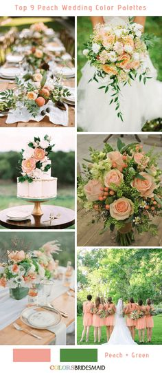 Top 9 Peach Wedding Color Palettes for 2019 Peach and Green themes coral Top 9 Peach Wedding Color Palettes for 2019 Peach Wedding Theme, Sage Green Wedding, Beach Wedding Flowers, Spring Wedding Colors, Summer Wedding Colors, Wedding Themes For Spring, Peach Wedding Bouquets, Themed Weddings, Dress Wedding