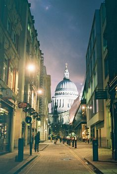 London at night, with St. Paul's cathedral