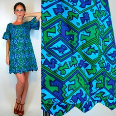 Vintage 60s Hawaiian Novelty Animal Print Mini by BluegrassVoodoo, $98.00