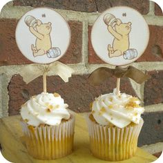 Classic Vintage Bear Cupcake Toppers Set of 10  Favors Baby