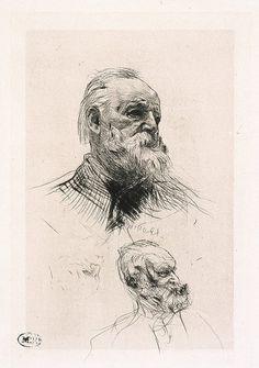 AUGUSTE RODIN (1840-1917) VICTOR HUGO DE TROIS-QUART 1884 Pointe sèche H. 22,2 cm ; L. 15 cm (partie gravée)