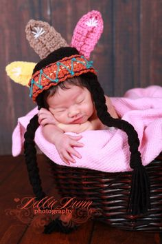 Crochet Indian photo prop hat, newborn prop, photo prop, up to six months on Etsy, $30.00