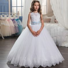 Find More Dresses Information about 2017 New Flower Girl Dresses Sleeveless O Neck Ball Gown Lace Up First Communion Dresses Hot Vestidos De Comunion Custom Make,High Quality girls dress,China girls dress up Suppliers, Cheap flower girl from Kity maky on Aliexpress.com