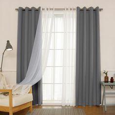 Willa Arlo Interiors Brunilda Traditional Solid Sheer Thermal Grommet Curtain Panels Color: Dark Gray