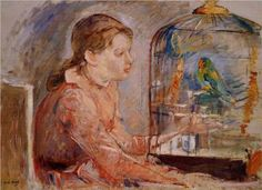 Young Girl and the Budgie - Berthe Morisot, 1888