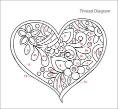 Digital Pattern Whitework Gentle Heart por TRISHBURREMBROIDERY