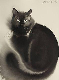 Endre Penovác WATERCOLOR Se non voi fosse chiaro...io ho un gatto nero di nome Ghibli: ha 10 anni e pesa 11 chili. Io lo chiamo Ninni. Fiorella